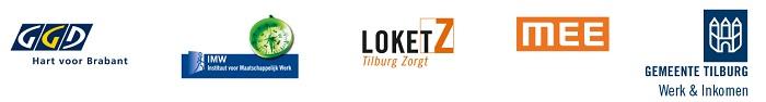 Logo's: GGD Hart van Brabant; Instituut voor Maatschappelijk Werk;Loket Z; Mee en Gemeente Tilburg - Werk & Inkomen.